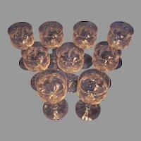 11 Scottish Wine Cordials - Thistle Pattern - Vintage Crystal
