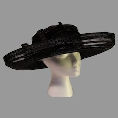 Vintage Kokin New York Black Broad Brimmed Hat - 1990s