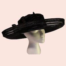Vintage Kokin New York Black Broad Brimmed Hat - 1990s