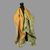 Vintage Square Silk Scarf with Golden Cream and Lime Colors