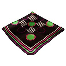 Vintage 26 inch Silk Scarf - Modern Design