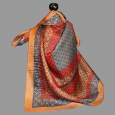 Vintage Silk Scarf with Squares