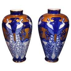 Art Nouveau Old Paris Cobalt/Gold Crane Vases - 1900-1910
