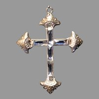 Vintage Silver-Plate Crucifix with Baggett Rhinestones - c. 1930s
