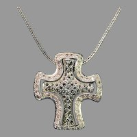Vintage Sterling Silver Crucifix with Clear and Black Diamonds