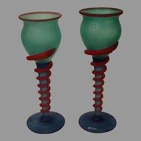 Vintage Kosta Boda Scandinavian Hand Blown Art Glass Goblets