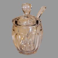 Vintage Heisy Pressed Glass Sugar Bowl with Lid and Spoon