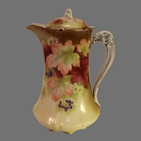Vintage Bavarian Hand Painted Porcelain Chocolate Pot - c. 1930s
