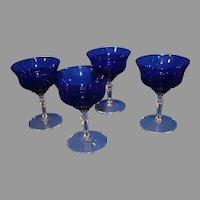 Vintage Cobalt Sherry Glasses - Set of 4 Stems