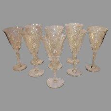 Set of 10 Libbey Rock Crystal Sharpe Wine Goblets