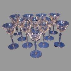 Set of 12 Libbey Rock Crystal Sharpe White Wine Stems
