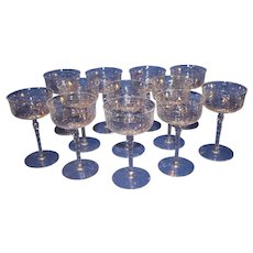 Set of 12 Libbey Rock Crystal Sharpe Champagne Stems