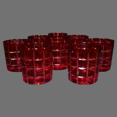 Vintage Ebeling and Reuss Ruby cut to Clear High Ball Crystal Glasses