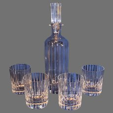 Baccarat Crystal Crystal Decanter and 4 Glasses - Harmonie Pattern
