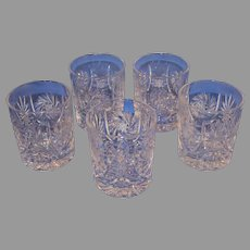 Set of 5 High Ball Crystal Glasses by Ebeling and Reuss