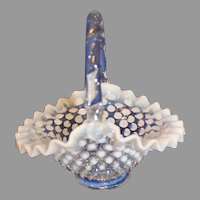 Fenton Heavy Hobnail Glass Bride's Basket - 1940s