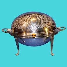 Antique James Deakin and Son Roll Top Silver-Plate Breakfast Warmer