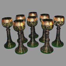 Antique Moser Gold Embossed Wine Hocks - Set of 8