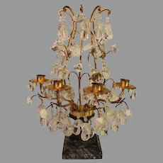 Italian Marble and Crystal Mantel Sconces - c. 1930s