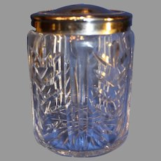 Very Rare Waterford  Crystal Chevron Humidor or Biscuit Jar/Silver-Plate Lid - c. 1980-1990s
