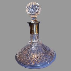 Waterford Lismore Crystal Captain's Decanter with Sterling Silver Neck