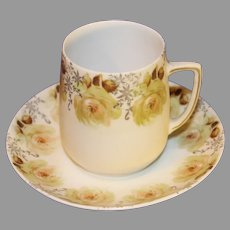 Antique Silesia Porcelain Cup and Saucer - c. 1890