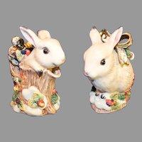 Fitz and Floyd Rabbit Sugar and Creamer - 1996 Winter Theme