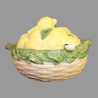 Italian Majolica Lemon Basket Casserole with Ladle