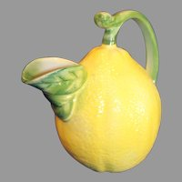 Majolica Ceramic Italian Lemon-Shaped Pitcher