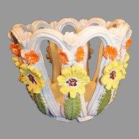 Vintage Italian Majolica Pottery Centerpiece Bowl