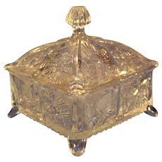 Paneled Thistle Pressed Glass Covered Box -Higbee