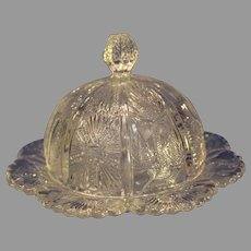 Pressed Glass Paneled Thistle Covered Butter Dish - Higbee