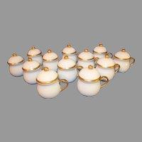 12 Vintage Pots de Creme Porcelain Covered Cups