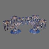 Pair of Vintage Fostoria Baroque 3 Lite Candelabrum with 18 Prisms - 1936-1966