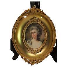 English Miniature Portrait in Gilt Bronze Frame - late 1800s