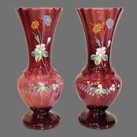 Pair of English Amethyst Fluted Vases with Enamel Floral Decoration - circa 1900-1920