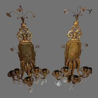 Pair of Baroque Gilt Bronze Wall Sconces - c. late 1800s
