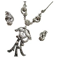 Art Deco Sterling Silver Hand Set Marcasite Necklace and Matching Earrings