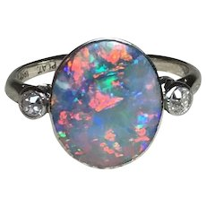 Art Deco Opal and Diamond Ring in Platinum and 18K White Gold • Size 6/L