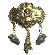 "Art Nouveau Silver Gilt Repoussé ""Love's Dream"" Brooch with Topazio Filigree Work"