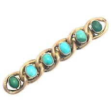 Victorian 9K Rose Gold and Turquoise Chain Link Bar Brooch