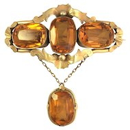 Antique Victorian 9K Gold and Pinchbeck Three-Stone Brooch with Drop