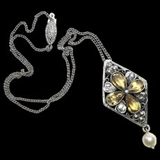 Arts and Crafts Silver and Citrine Quatrefoil Pendant with Pearl Drop