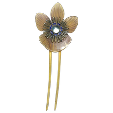 French Art Nouveau Enamel Carved Horn and Moonstone Hair Ornament