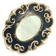 Victorian 9K Gold, Enamel and Mother of Pearl Mourning Brooch