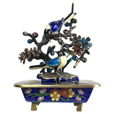 Chinese-style Sterling Silver Cloisonné Enamel Magpies Sculpture Objet D'Art