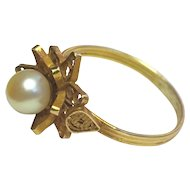Vintage 18K Yellow Gold Filigree Cultured Pearl Ring