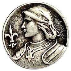 French Art Nouveau Silver Joan of Arc Brooch