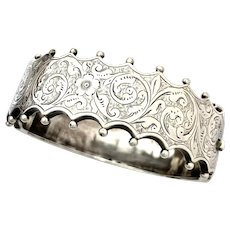Victorian Sterling Silver Hinged Bangle with Safety Chain
