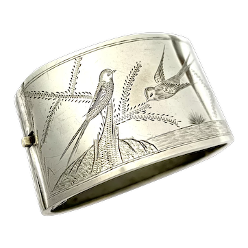 Victorian Swallow Silver Hinged Cuff Bangle